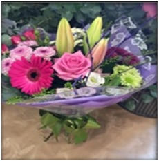 Pretty hand tied bouquet- Colours may vary. Priced from