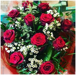 12 Luxury Long stemmed Red Roses (Contact Florist)