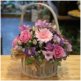 Pink and Lilac Shades Basket (Florist Choice)