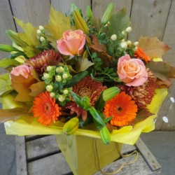 Peach and Gold BQ (Florist Choice)
