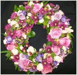 Sympathy Wreath Pink & Purple (Contact to Enquire)
