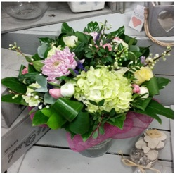 Pastel Blush Hand Tie in Container (Florist Choice)