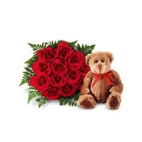 These beautiful Flowers are accompanied with an adorable Ted
