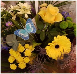 Hand Tied Bouquet (Yellow/Blue Florist Choice)
