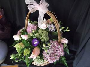 large basket of flowers