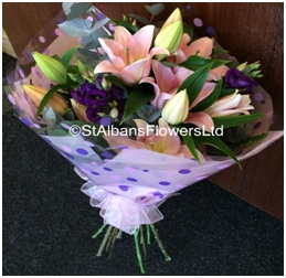 Hand Tied Pink lily Delight