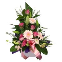 WRF112 - Gentile:Oriental lilies, Roses, Gerberas, + more