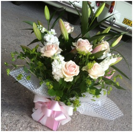 Pink Roses & Lillies Arranged in a Box