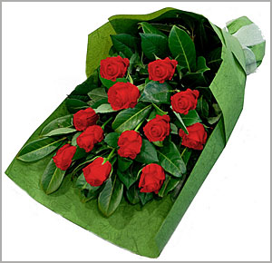 Package includes 12 red roses and several greeneries.