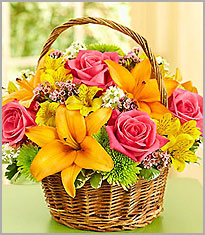 Seasonal flowers in a basket