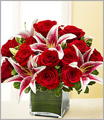 12 beautiful red roses, star lilies flowers