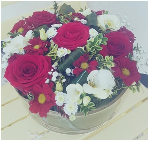 Red and White Arrangement (Florist Choice)
