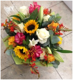 reds orange and yellows florist choice 35.00