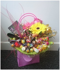 Sweetie Bouquet with Flowers (Needs a Few Days Notice)
