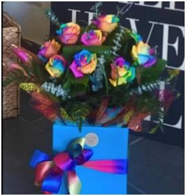 Rainbow Rose Hand Tie (Florist Choice)