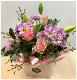 Post Box Pastel Shades with Roses, and Lilies
