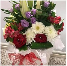 Red and White Aqua Box (Florist Choice)