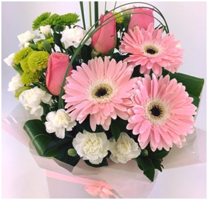 Pastel Pinks, with white & greens boxed arrangement