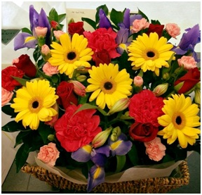 Bright large flower basket