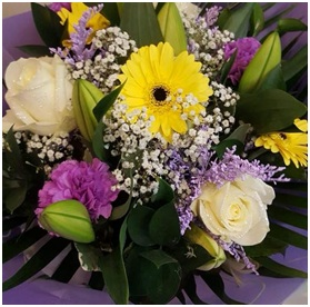 Yellow, Purple and White Bouquet (Florist Choice)